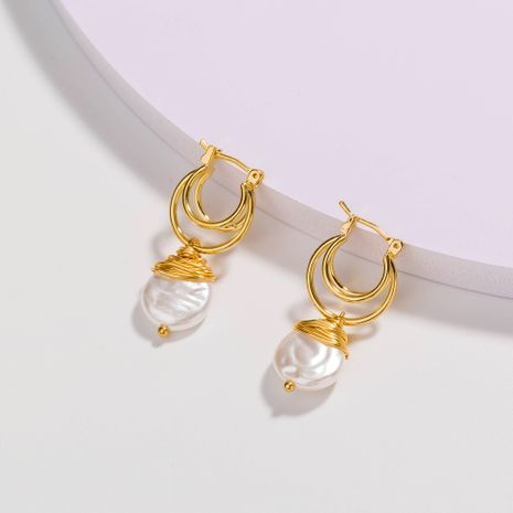 Fashion multi-layer golden U-shaped  winding baroque shaped pearl earrings wholesale  NHAN244414's discount tags