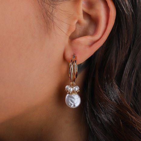 Bohemian fashion multi-layer U-shaped ear hooks pure white flat pearl earrings wholesale nihaojewelry NHAN244415's discount tags