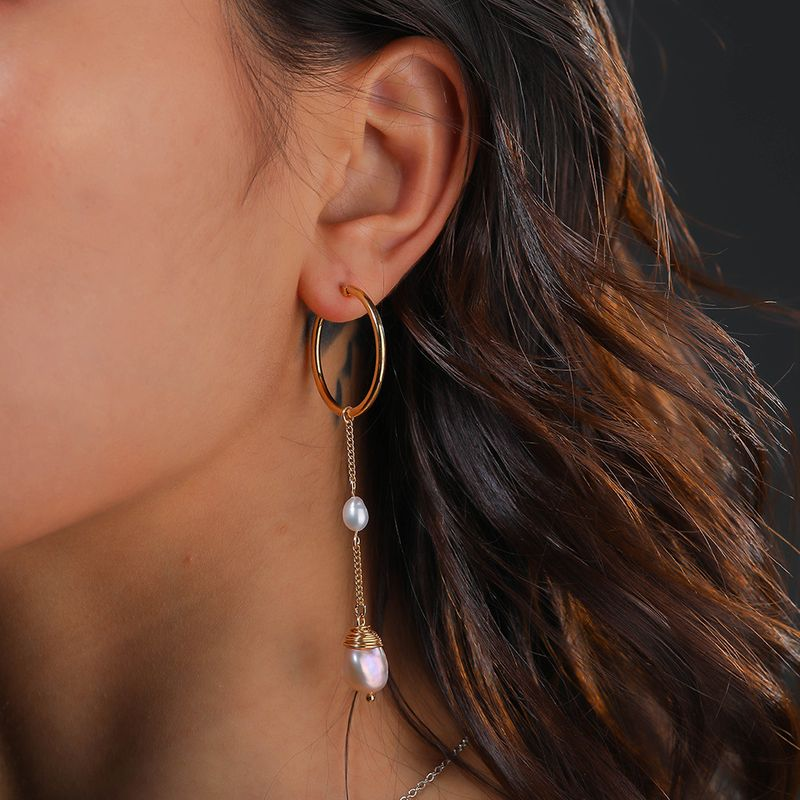 hot selling women's fashion natural color bread beads earrings wholesale nihaojewelry NHAN244416