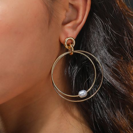 Fashion olden Double Circle Natural Pearl Earrings wholesale nihaojewelry NHAN244417's discount tags