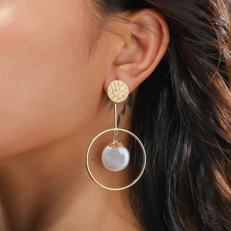 fashion natural pure white flat pearl ring earrings wholesale nihaojewelry NHAN244421's discount tags