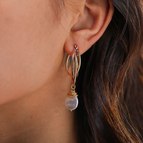 hot-selling exaggerated creative multi-layer U-shaped earrings pure white pearl earrings wholesale nihaojewelry NHAN244424's discount tags