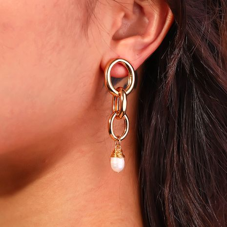 hot selling hand-woven natural freshwater pearl earrings wholesale nihaojewelry NHAN244425's discount tags