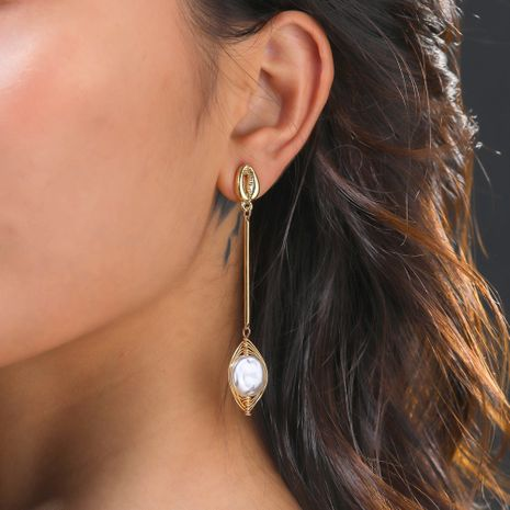 new metal shell ear hook fashion natural freshwater pearl  hand-wound earrings wholesale  NHAN244430's discount tags