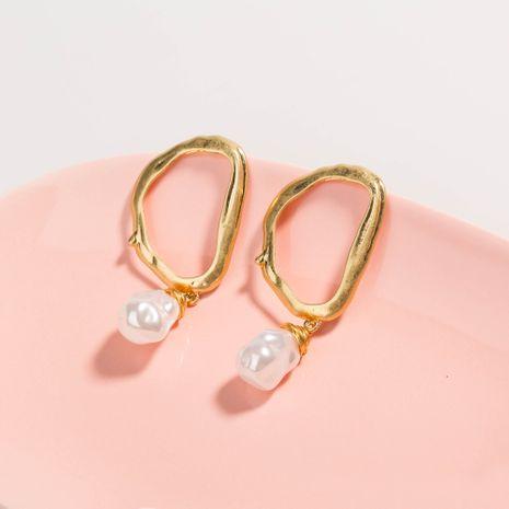 all-match pearl earrings simple letter D shape ear hooks earrings wholesale nihaojewelry NHAN244435's discount tags