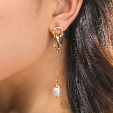 hot-selling natural freshwater pearl fashion tassel chain earrings wholesale nihaojewelry NHAN244437's discount tags