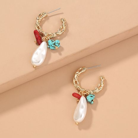 creative C-shaped metal natural stone special-shaped pearl  earrings wholesale  NHAN244439's discount tags