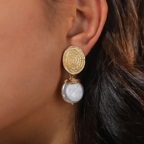 hot style fingerprint pattern  fashion baroque pearl earrings  NHAN244444's discount tags