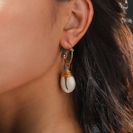 hot-selling style C-shaped ear hooks hand-woven natural white shell earrings  NHAN244445's discount tags