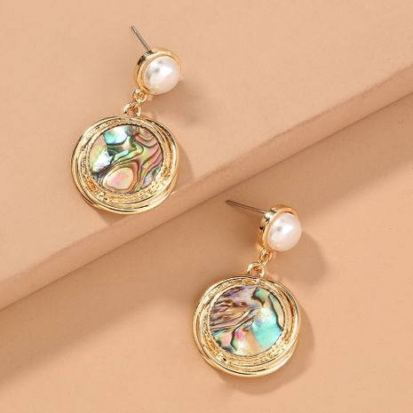 fashion simple pearl  round natural abalone shell short earrings wholesale NHAN244446's discount tags