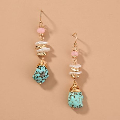 hot-selling long holiday style turquoise ethnic style earrings wholesale nihaojewelry NHAN244447's discount tags