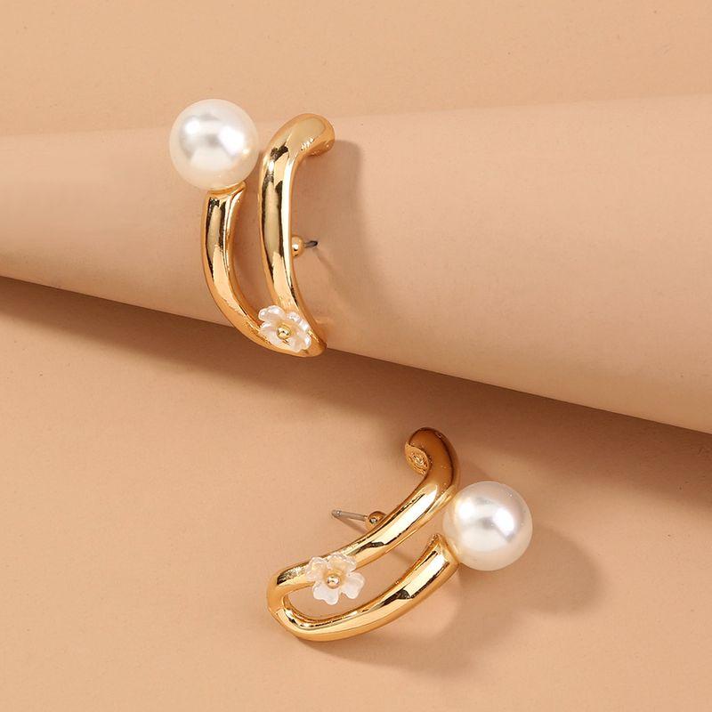 double C metal pearl earlobe earrings fashion four-leaf clover lucky earrings wholesale nihaojewelry NHAN244448