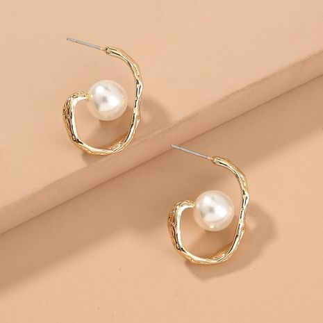 fashion style selling twisted metal pearl U-shaped trendy earrings wholesale  NHAN244449's discount tags