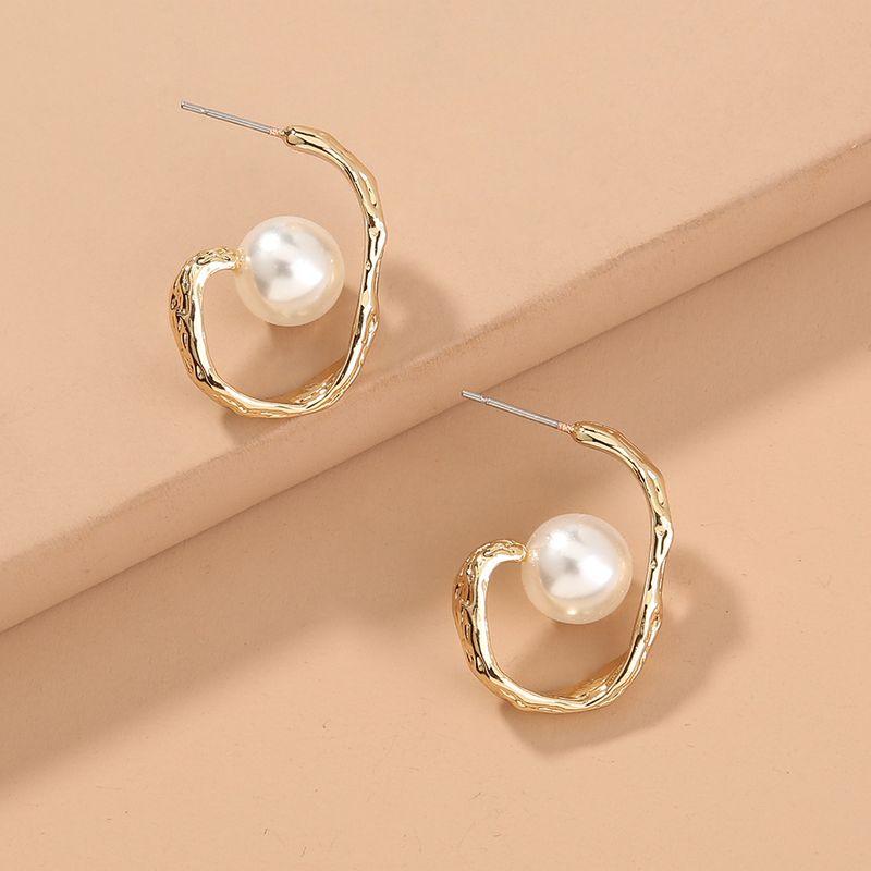 fashion style selling twisted metal pearl U-shaped trendy earrings wholesale  NHAN244449
