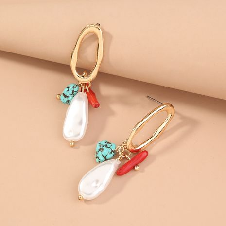 new oval hollow earrings clan style natural turquoise coral stone earrings wholesale nihaojewelry NHAN244457's discount tags