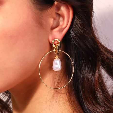 O-shaped ear hook large golden circle hand-wound pure white earring  NHAN244459's discount tags