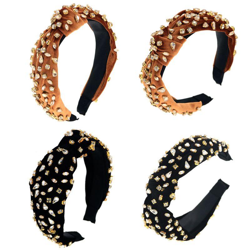 rhinestone gold velvet headband two-color summary headband NHCO244461