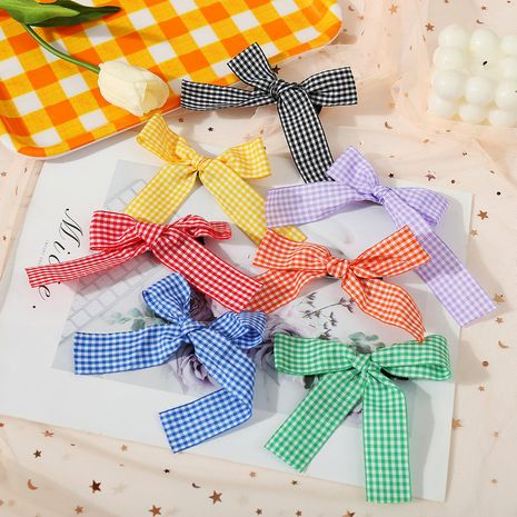 candy color plaid bow hairpin cute bangs clip hairpin side clip wholesale nihaojewelry NHPJ244465's discount tags