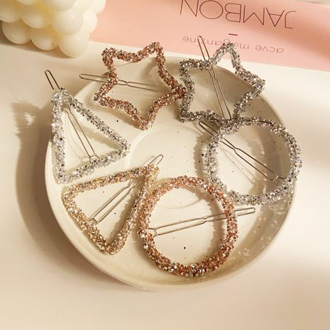 Korean Crystal Rhinestone Round Hairpin Five-pointed Star Triangle Round Frog Clip Hairpin wholesale nihaojewelry NHPJ244468's discount tags