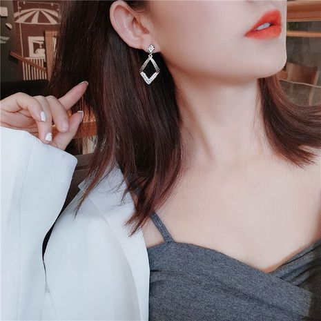 new trendy geometric dripping oil full diamond fashion hypoallergenic alloy silver needle earrings NHBQ244471's discount tags