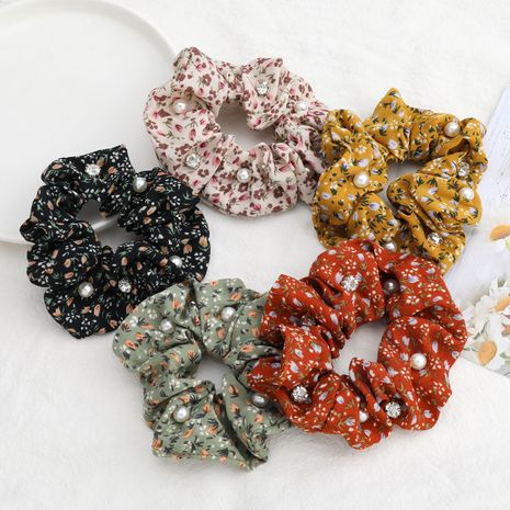 hot-selling small floral printed fabric diamond inlaid pearl bundle hair scrunchies wholesale nihaojewelry NHJE244475's discount tags