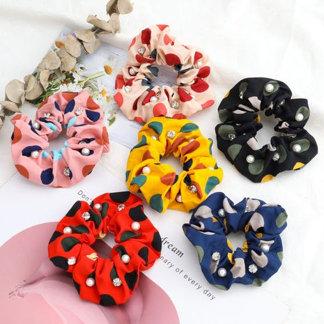 Korean campus style multi-color big wave dots color matching fabric diamond inlaid pearls scrunchies wholesale nihaojewelry NHJE244477's discount tags