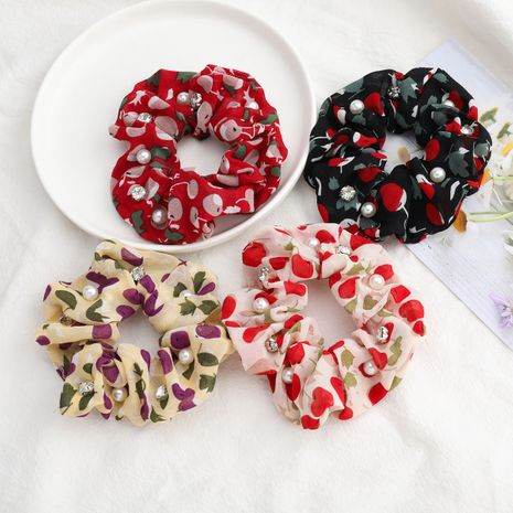 Korean fruit style cherry printed cotton and linen fabric diamonds  pearls hair scrunchies  wholesale  NHJE244478's discount tags