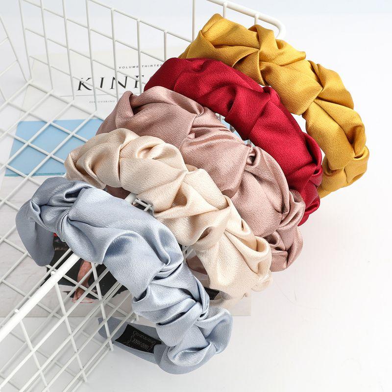 Fashionable pure color fabric fabric Korean women's hair band wash headband  NHJE244480