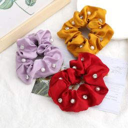 Fashion solid color fabric  diamonds and pearls trendy hair scrunchies wholesale  NHJE244486