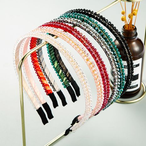 Korea new crystal Korean fashion color rice beads thin handmade headband for women NHLN244493's discount tags