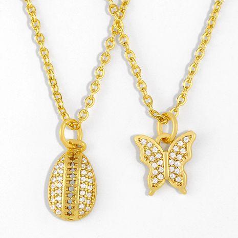 Collar de cadena de clavícula de cobre de mariposa de diamante colgante de concha de moda para mujer NHAS244500's discount tags
