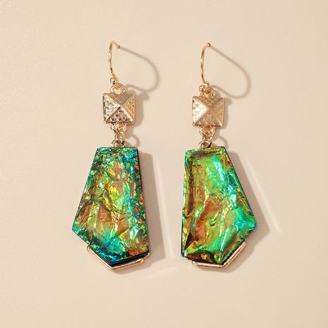 new color resin earrings multicolor shell effect alloy earrings wholesale nihaojewelry NHGY244503's discount tags
