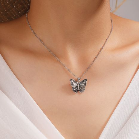 New Korea retro alloy hollow butterfly wild short alloy clavicle chain for women wholesale NHGY244504's discount tags