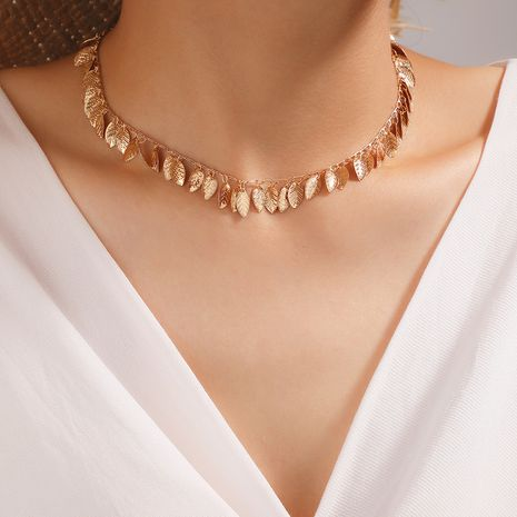 Fashion alloy leaf-shaped single-layer fashion wild clavicle chain for women wholesale NHGY244505's discount tags