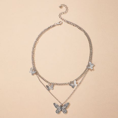 Korea new alloy butterfly simple and versatile double clavicle chain women's necklace NHGY244506's discount tags