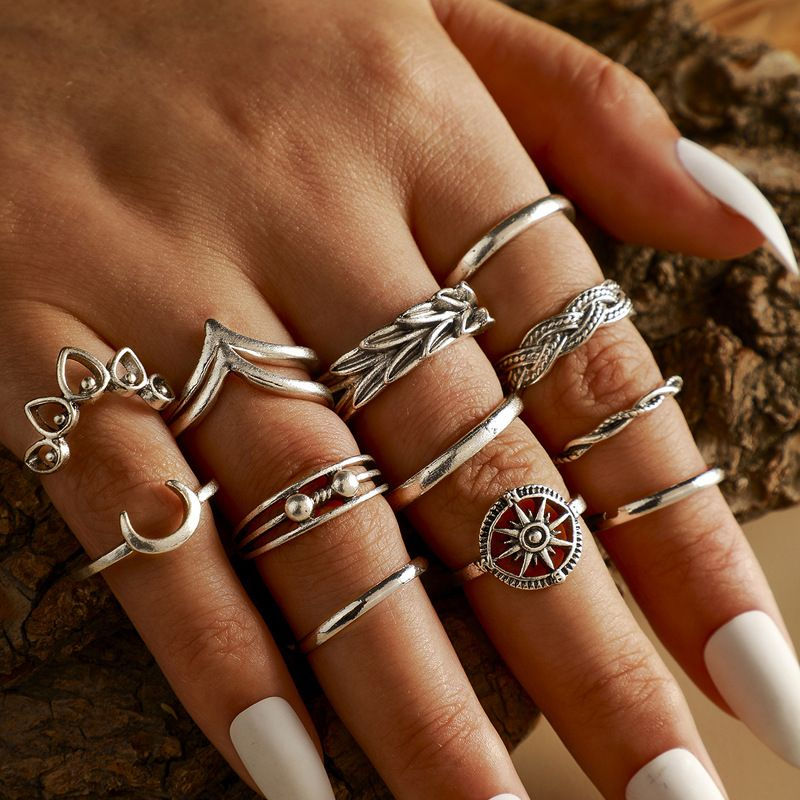 retro moon sun geometric love ring leaf V-shaped totem 13 thirteen piece ring set wholesale nihaojewelry NHGY244509