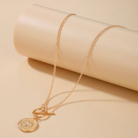 retro head simple wild geometric circle word buckle alloy coin necklace for women NHGY244510's discount tags