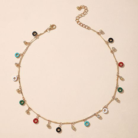 Bohemian cute colorful stone fashion simple candy wild single layer necklace for women NHGY244513's discount tags