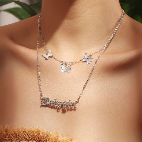 Collier de papillon de décoration en alliage de diamant de marée sauvage NHNZ244520's discount tags