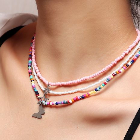 Collier de perles de riz de couleur papillon de style de plage d'été pour les femmes NHNZ244522's discount tags