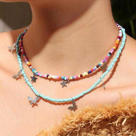 Collier d'étoile de papillon de collier d'alliage de perle de riz de couleur bohème de mode NHNZ244523's discount tags