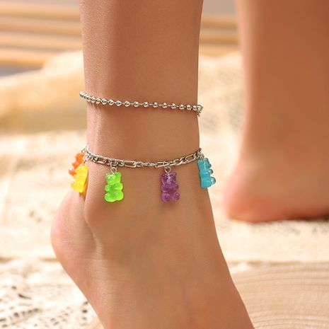 wholesale silver chain foot ornaments sweet color resin bear alloy anklet for women NHNZ244524's discount tags