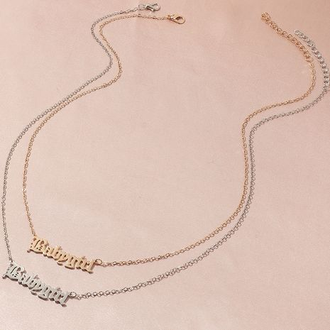 Fashion English alphabet item decoration alloy necklace wholesale NHNZ244527's discount tags