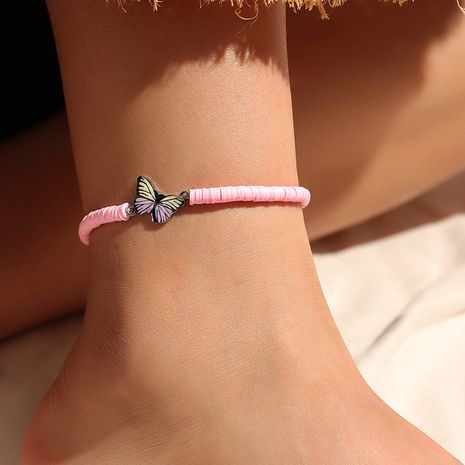 wholesale sweet and lovely pink soft pottery fashion butterfly alloy anklet  NHNZ244529's discount tags