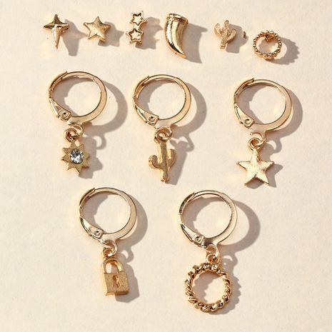 multi-element earrings metal lock-shaped five-pointed star earrings wholesale nihaojewelry NHNZ244531's discount tags