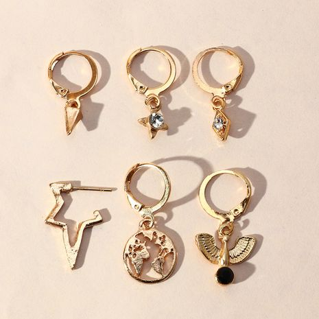 retro zircon starburst  popular world map earrings set wholesale nihaojewelry NHNZ244535's discount tags