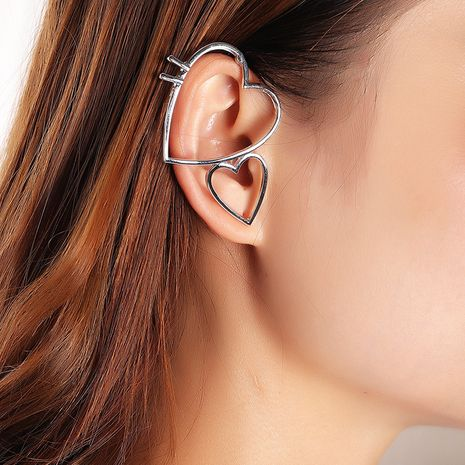 design sense size hollow double love ear clip no pierced earrings wholesale nihaojewelry NHNZ244536's discount tags