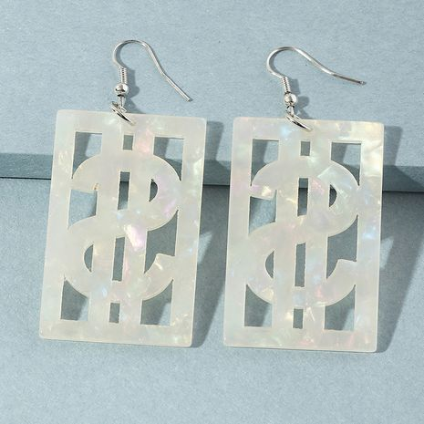 exaggerated dollar sign square earrings hip hop acrylic ear hook wholesale nihaojewelry NHNZ244537's discount tags