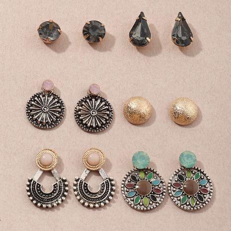 retro style fashion geometric pattern earrings set colored diamond earrings wholesale nihaojewelry NHNZ244538's discount tags