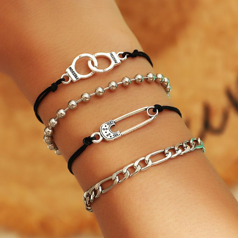 Fashion simple round bead chain punk hip hop style pin alloy bracelet set for women NHNZ244539